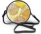 BAODANLA Bolso redondo mujer Women Soft Leather Zipper Round Shoulder Bags - Autumn Leaves Sling Bag
