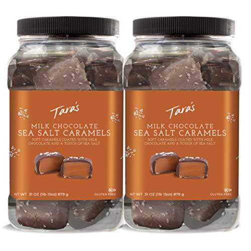 Tara's Small Batch Chocolate Covered Sea Salt Soft Caramels, Milk 62 Ounce (Pack of 2)