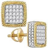 Jewels by Lux - Pendientes de oro amarillo de 10 quilates para hombre, redondos, diamantes, cuadrados, con espiral, 7/8 quilates