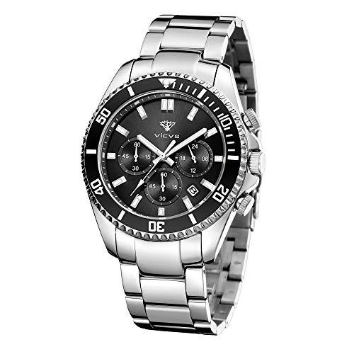 Cronografo luminoso da uomo in acciaio inossidabile con orologio VICVS, orologio impermeabile 3TM con quadrante grande, data di simulazione del movimento del polso