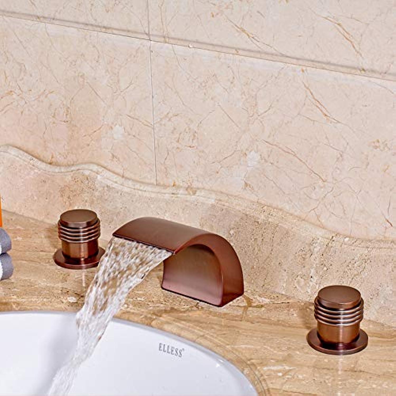 DFRQJHQGH Grohandel Und Einzelhandel Deck Montiert Badezimmer Waschbecken Wasserhahn Verbreitet 3 Stücke Dual Griff Mischbatterie l Rieb Bronze