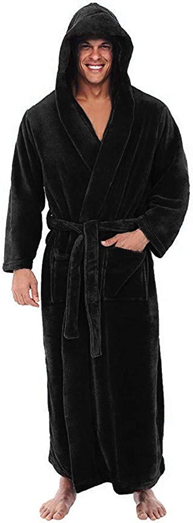 Mens Bathrobes Big and Tall Contrast Color Warm Fleece Robe with Hood Flannel Fuzzy Full Length Robes for Men Gifts