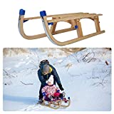 LONABR Removable Snow Sled Sleigh Portable Wooden Sled Durable Sledding for Kids with A Pulling Rope and Solid Wood Seat Holds Up to 220LBS (Removable)