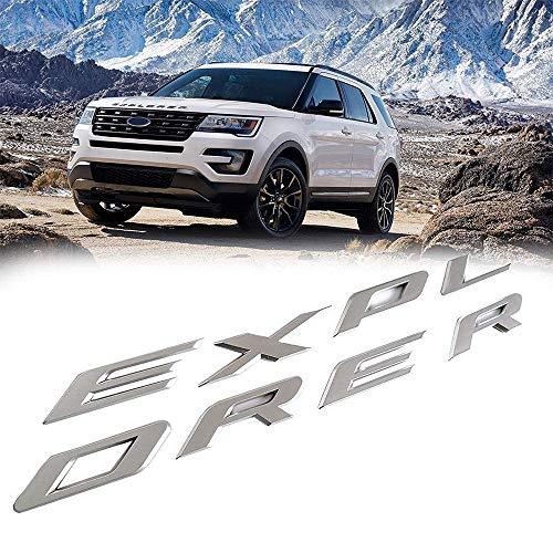L&U 3D-Buchstaben ABS Front Hood Emblem Explorer Sport Hood Letters Aufkleber Fit für Ford Explorer 2011-2020,Matt Silver