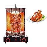 Cablo Parrilla de Barbacoa eléctrica automática/Parrilla de Barbacoa de Gas máquina de Kebab con Interruptor de Ajuste de Temperatura, Barbacoa sin Humo de Acero Inoxidable