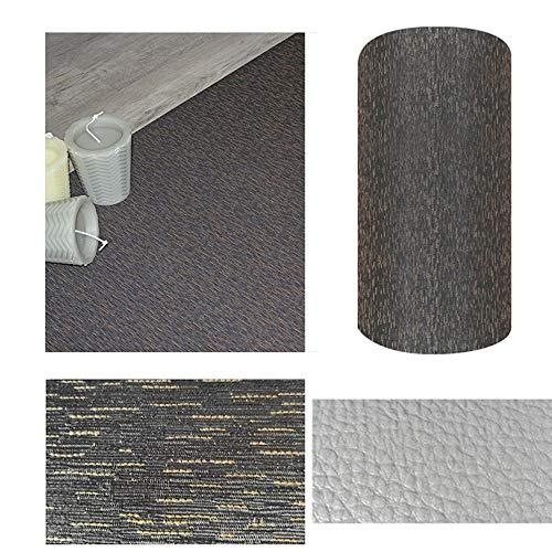 Comercial Candela Alfombra de Pasillo de Textil Resinado Antimanchas, Lavable   Base PVC Antideslizante y Aislante Diseño Lluvia Color (Pizarra, 65_x_250 CM)