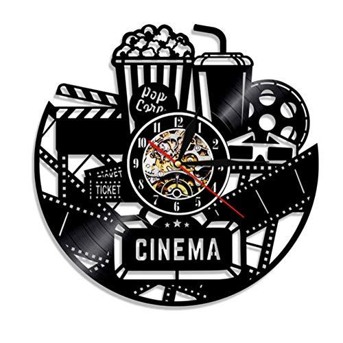 WJBKY Cinema Orologio da Parete in Vinile Orologio Moderno Orologio da Film Film Orologio da Parete Orologio da Tempo Popcorn Coca-Cola per Gli Amanti dei Film Regalo