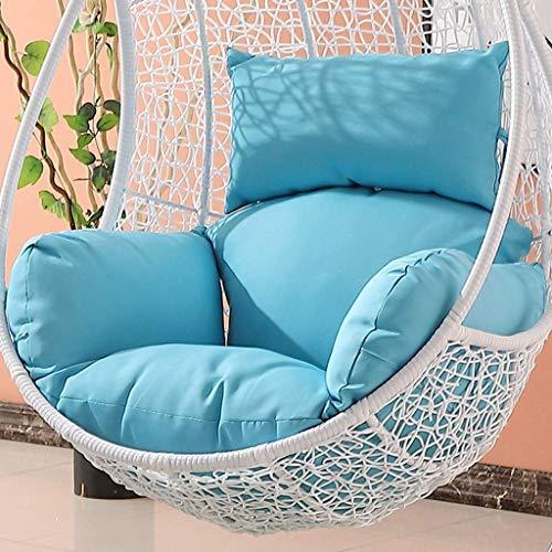 Garden Patio Rattan Schaukelstuhl Wicker Hanging Egg Chair Hängematte Kissen und Abdeckung Indoor oder Outdoor-Braun (Farbe:Blau) (Ohne Stuhl)