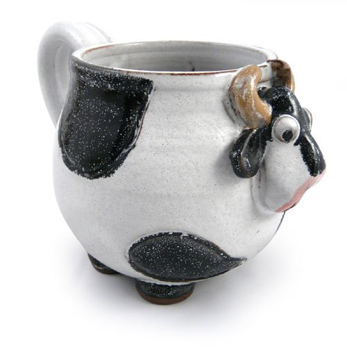 Mootilda American Handmade Stoneware Pottery Cow Mug, 14 oz, Black Version