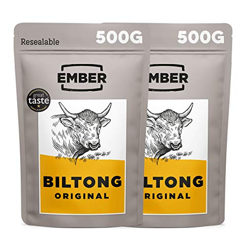 Ember Biltong Gros Sac 1KG - Original Beef Jerky - Bœuf Séché - Snack Riche en Protéines - Original (4x250g)