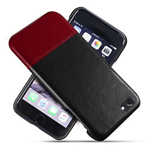Suhctup Compatible con iPhone 7 Plus/8 Plus Funda Cuero Calidad Ultrafina Estilosa Simple Empalme Estilo Carcasa de Piel Durable Antigolpes Antideslizante Protección Caso(Rojo Negro)