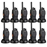 Retevis H-777 Two-Way Radio Long Range UHF 400-470MHz Signal Frequency Single Band 16 CH Walkie Talkies with Original Earpiece (10 Pack)