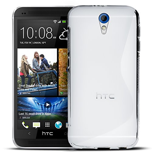 Conie SC5371 S Line Hülle Kompatibel mit HTC Desire 620, TPU Smartphone Hülle Transparent Matt rutschfeste Oberfläche für Desire 620 Rückseite Design Clear