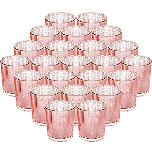 Votive Candle Holder-Set of 48 Wedding Centerpieces for Table, Mercury Glass Tealight Candle Holders Bulk for Birthday |Party |Home Decoration (Rose Gold)