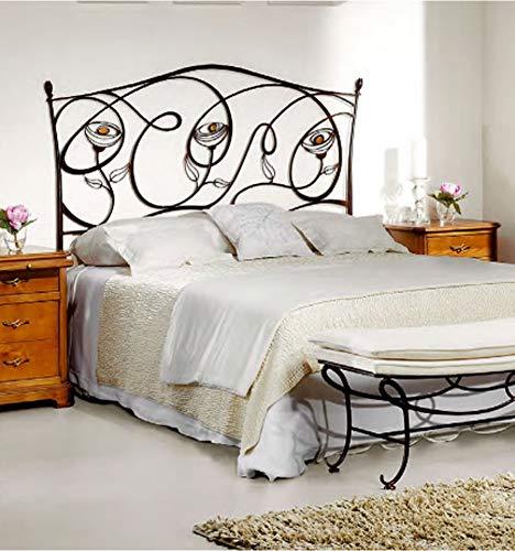 Cabecero de forja Camelia de Peña Vargas - Cabecero para colchón de 150 cm, Color Blanco pátina