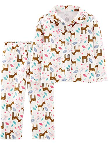 Simple Joys by Carter's Girls' Toddler 2-Piece Coat Style Pajama Set, Deer, 3T