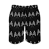 AMRANDOM Mens Quick Dry Beach Shorts Racing Checkered Flag Swim Trunks for Summer Vacation Swimming Surfing, Breathable and Soft Swimsuits Shorts with Mesh Liner, L