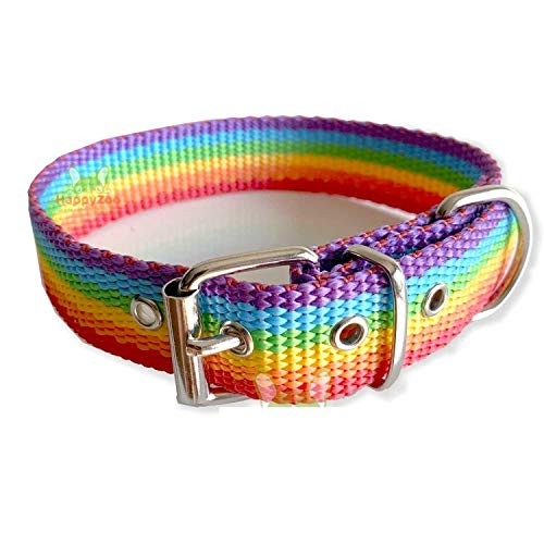 Happyzoo Mascotas Collar LGTB Bandera Orgullo para Perro - Medida de 40 cm - Colores de la Bandera Gay Lesbiana Trans