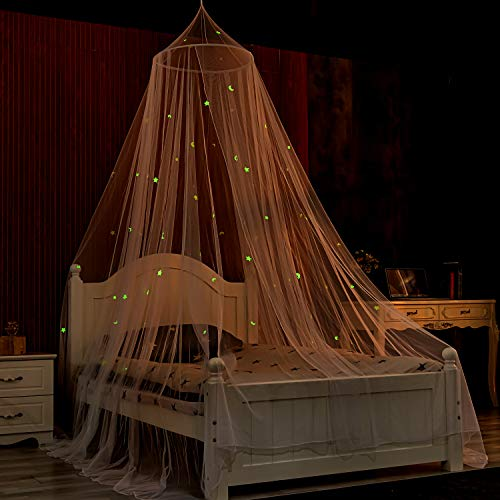 Ecoart Mosquitera Cama con Brillantes Estrellas y Lunas Fluorescentes, mosquitero Cama para niños, mosquitera para Cuna, pabellón mosquitero de cúpula, Dosel Cama (Estrellas y Lunas)