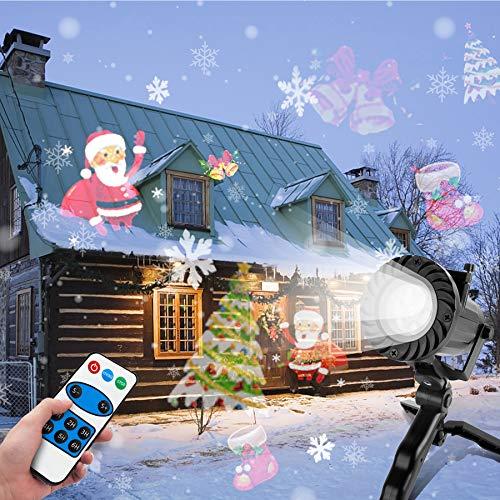 Wilktop Led Projektionslampe, Weihnachten Projektionslampe LED Projektor mit 15 Musters Lichteffekt Wasserdicht IP65 Weihnachtsbeleuchtung Außen Projektor für Weihnachten, Festen, Hochzeit, Halloween