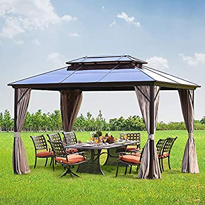 Mellcom 10' x 13' Hardtop Gazebo with Netting Curtains and Sidewalls, Polycarbonate Top and Aluminum Frame