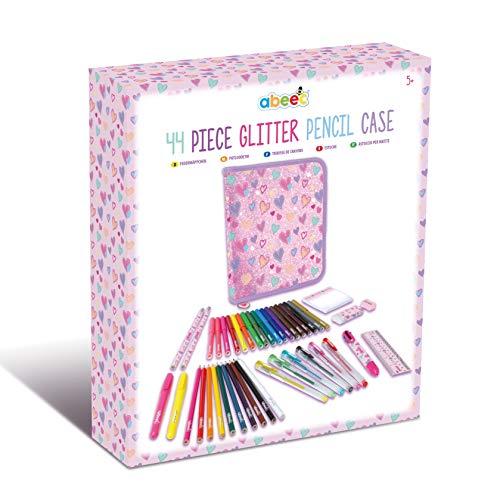 abeec 44 Piece Glitter Pencil Case – Stationery Set Including: Pencil...