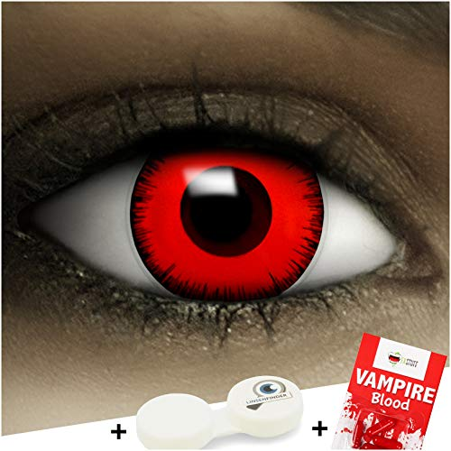 Farbige Kontaktlinsen ohne Stärke Volturi Vampir + Kunstblut Kapseln + Kontaktlinsenbehälter, weich ohne Sehstaerke in rot und schwarz, 1 Paar Linsen (2 Stück)
