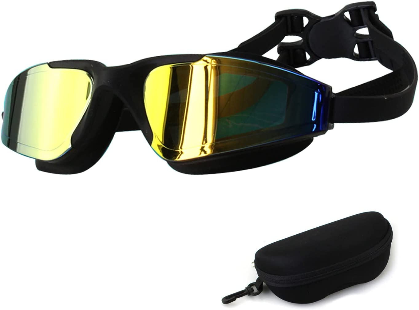 JINPXI Gafas de Natación Antivaho a Prueba de Fugas, Protección UV, Gafas de Natación de Visión Amplia con Diadema Ajustable para Hombres Adultos, Mujeres, Niños