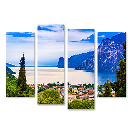 islandburner, Quadro Moderno Riva del Garda. Lago di Montagna Lago di Garda Quadri Moderni x poltrone Salotto Cucina mobili Ufficio casa PQV