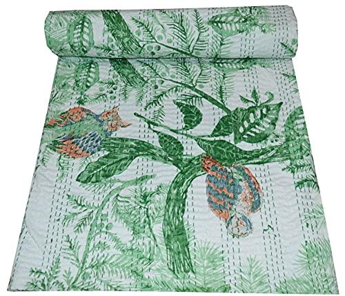 Somukara Colcha Kantha de algodón indio con estampado floral de búho hecho a mano, colcha kantha, colcha tamaño doble / queen Kantha, funda de cama Gudri (verde, Queen (222,8 x 250 cm)