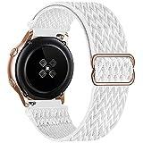 GBPOOT 20mm Correa Compatible con Samsung Galaxy Watch Active 2(40mm/44mm)/Watch 3 41mm/Watch 42mm/Gear S2,Reloj Ajustable de Repuesto Deporte Strap,Pulsera Nylon Banda,White,20mm