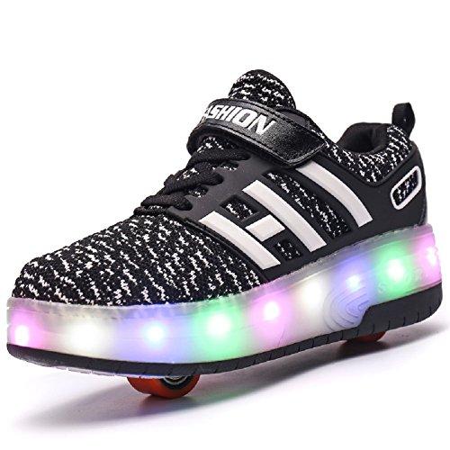 Skybird-UK 7 Farbe Farbwechsel Blinkschuhe Aufgerüstet LED Schuhe mit Doppelt Rollen Inline Einziehbar Outdoor Sportschuhe Skateboardschuhe Vibration Leuchtend Gymnastik Sneaker für Junge Mädchen