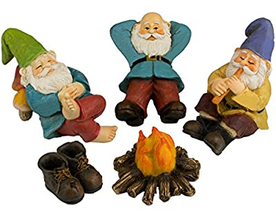 The Relax by the Campfire (Five Piece) Mini Gnome Set by Twig & Flower