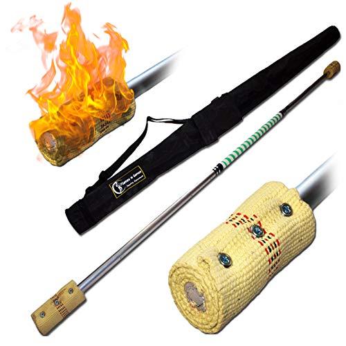Pro Bâton de Feu (160cm/2x100mm Meche) + Flames N Games Sac de Voyage! Staff de Feu AKA Fire Staff Inflammable Professionnel Bâtons Indien, Large Flammes!