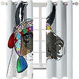 AmDxD Cortinas opacas de poliéster de 2 paneles, cortinas modernas para dormitorio étnico burro, cortinas decorativas, lavables a máquina, gris oscuro rojo, azul, 250 cm de ancho x 182 cm de largo