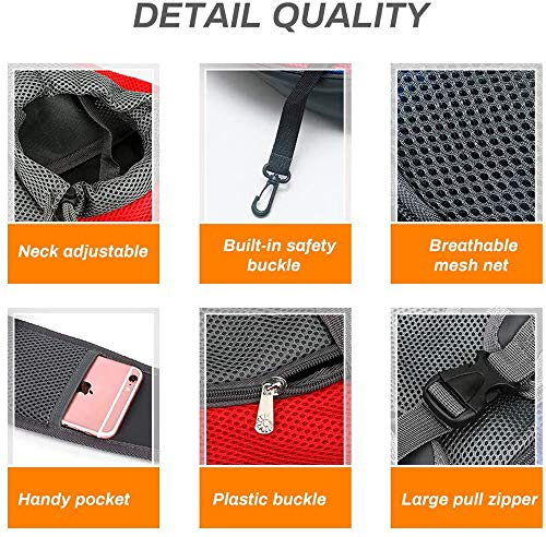 Achort Pet Carrier Hand Free Sling Puppy Carry Bag Small Dog Cat Traverl Carrier with Breathable Mesh Pouch for Outdoor Travel Walking Subway 12LB (Red) 3