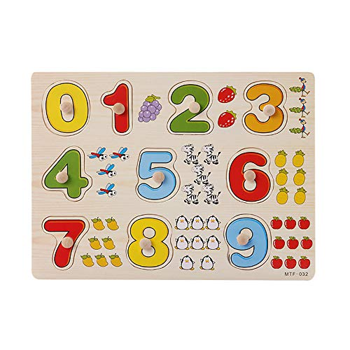 Hisoul Puzzle Jigsaw Toy Baby Kids Wooden Number Lette Puzzle Jigsaw Early Learning Educational Toys - Best Educational Gifts for Boys and Girls (C)