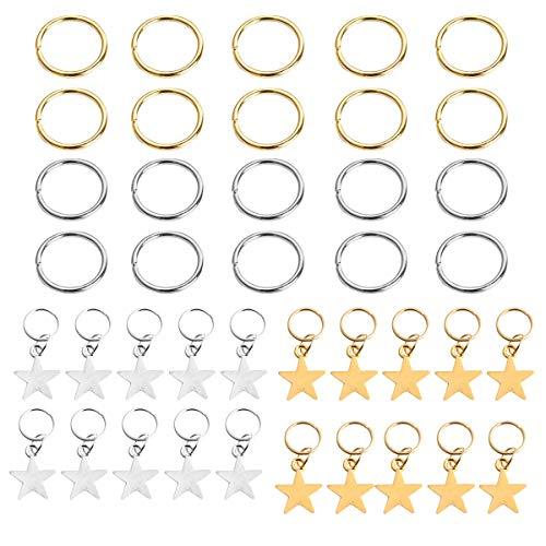 LEEQ 20 Piezas Anillas de Trenza de Pelo de Estrella Clips de Pelo Anillos con Colgante de Dije y 20 Piezas Clips Bucle de Pelo, Dorado y Plateado, Total 40 Piezas