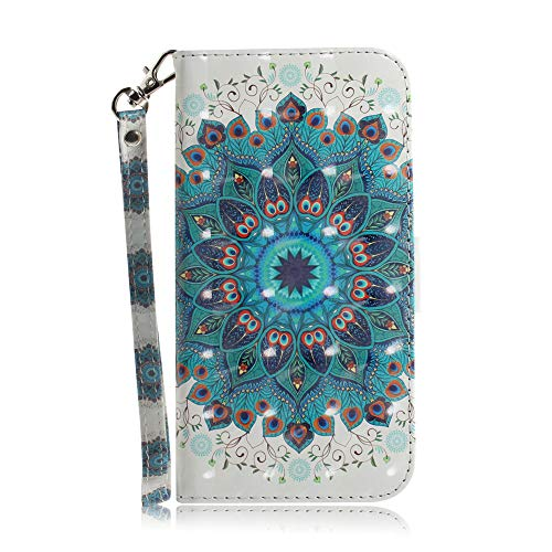 JZ 3D Colorful Painting Series Hülle for Für Samsung A10e / A20e Wallet Flip Cover with [Wrist Strap] - Peacock Garden