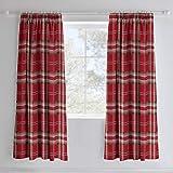 Cortinas ricas de algodón de Catherine Lansfield Kelso - Rojo 66 x 72