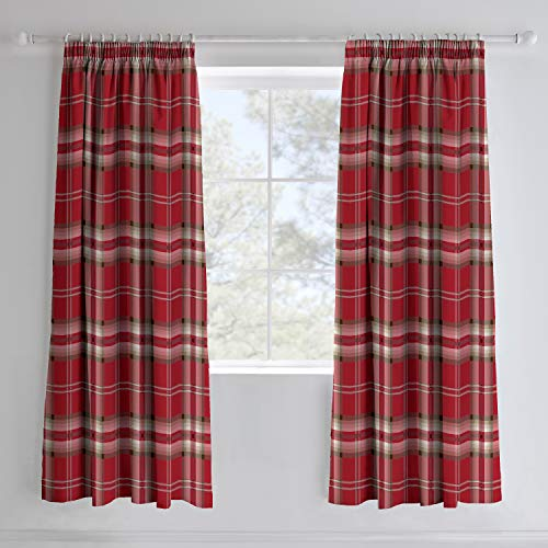 Catherine Lansfield Easy Care Cotton Rich Kelso Check Pair of Curtains