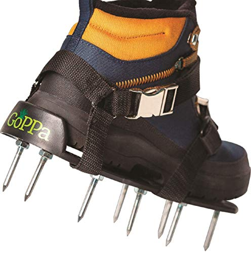 GoPPa Lawn Aerator Shoes – Easiest to USE Lawn Aerator Sandal, You only FIT Once. Ready for aerating Your Yard, Lawn, Roots & Grass – [2020] Comfort Design