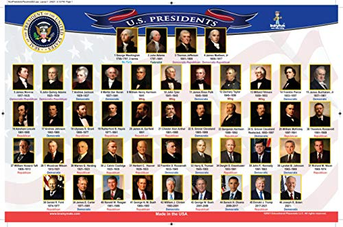 Brainy Mats (Presidents and Vice Presidents) Educational Placemat for Children – Made in USA – Non-Slip Design –Washable -Laminated - Ideal for Students