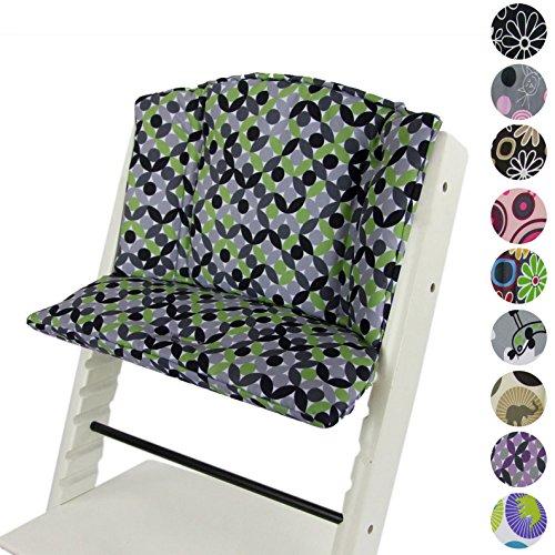 BAMBINIWELT vervangende bekleding, kussenset voor hoge stoel/kinderstoel Stokke Tripp Trap, stoelverkleiner design (rond) Groen mozaïek