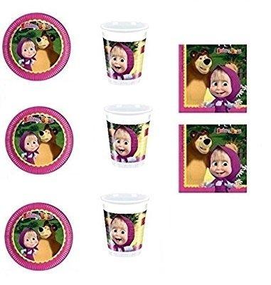 CDC – Kit N ° 4 Fête et Party Masha et orso- (32, 32 verres, 40 assiettes 40 serviettes)