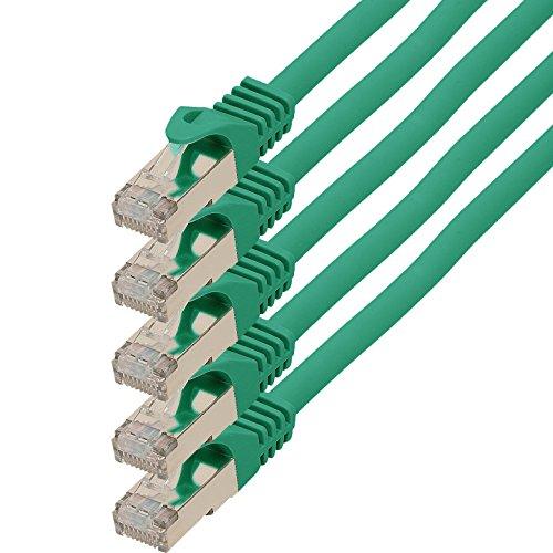1aTTack.de netwerkkabel ethernetkabel lange kabel Cat.7 S-FTP PIMF compatibel met Cat.5 / Cat.6 | 10Gb/s | voor switch, router, modem, patchpannel, Access Point, patchvelden 10m groen - 5 stuks