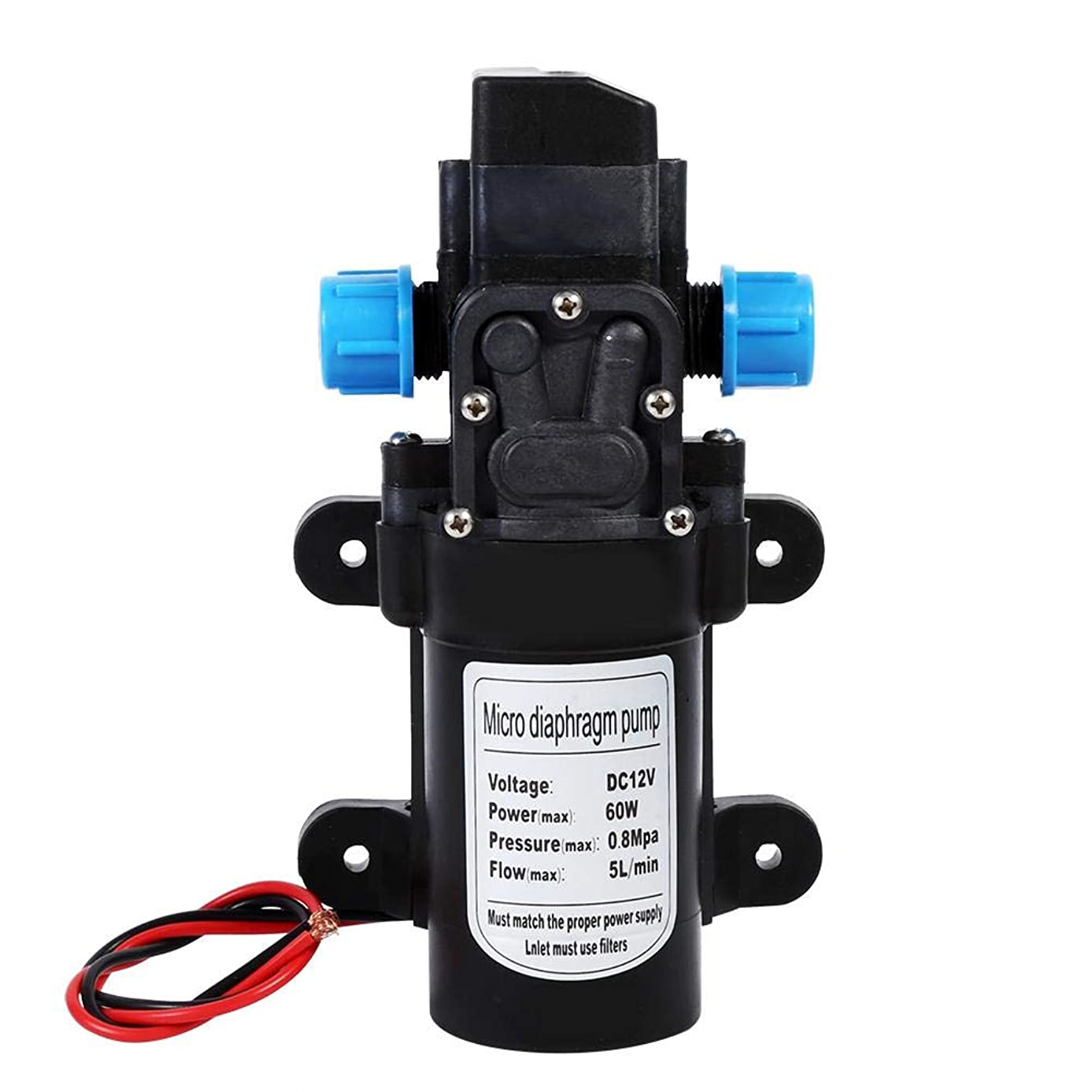 雨の確保するずらすQiilu DC12V 60W 高圧 マイクロメンブレン 水ポンプ ウォーターポンプ 自吸式 5L / min 汎用 小型 ダイヤフラム 式