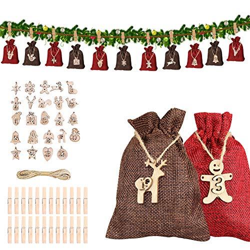 Anbaituor - Calendario de Adviento para rellenar con bolsa de tela, calendario de Adviento 2020 para hombres, mujeres y niños con 1 – 24 pegatinas calendario de Navidad para decorar – rojo vino