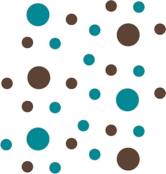 Turquoise Chocolate Brown Vinyl Wall Stickers 2 4 Circles 30 Decals