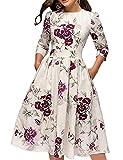 Simple Flavor Women's Floral Vintage Dress Elegant Autumn Midi Evening Dress 3/4 Sleeves (Beige, L)
